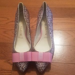 Anne Klein sparkly kitten heel with pink bow